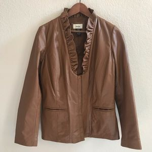 Neiman Marcus Ruffle Leather Jacket